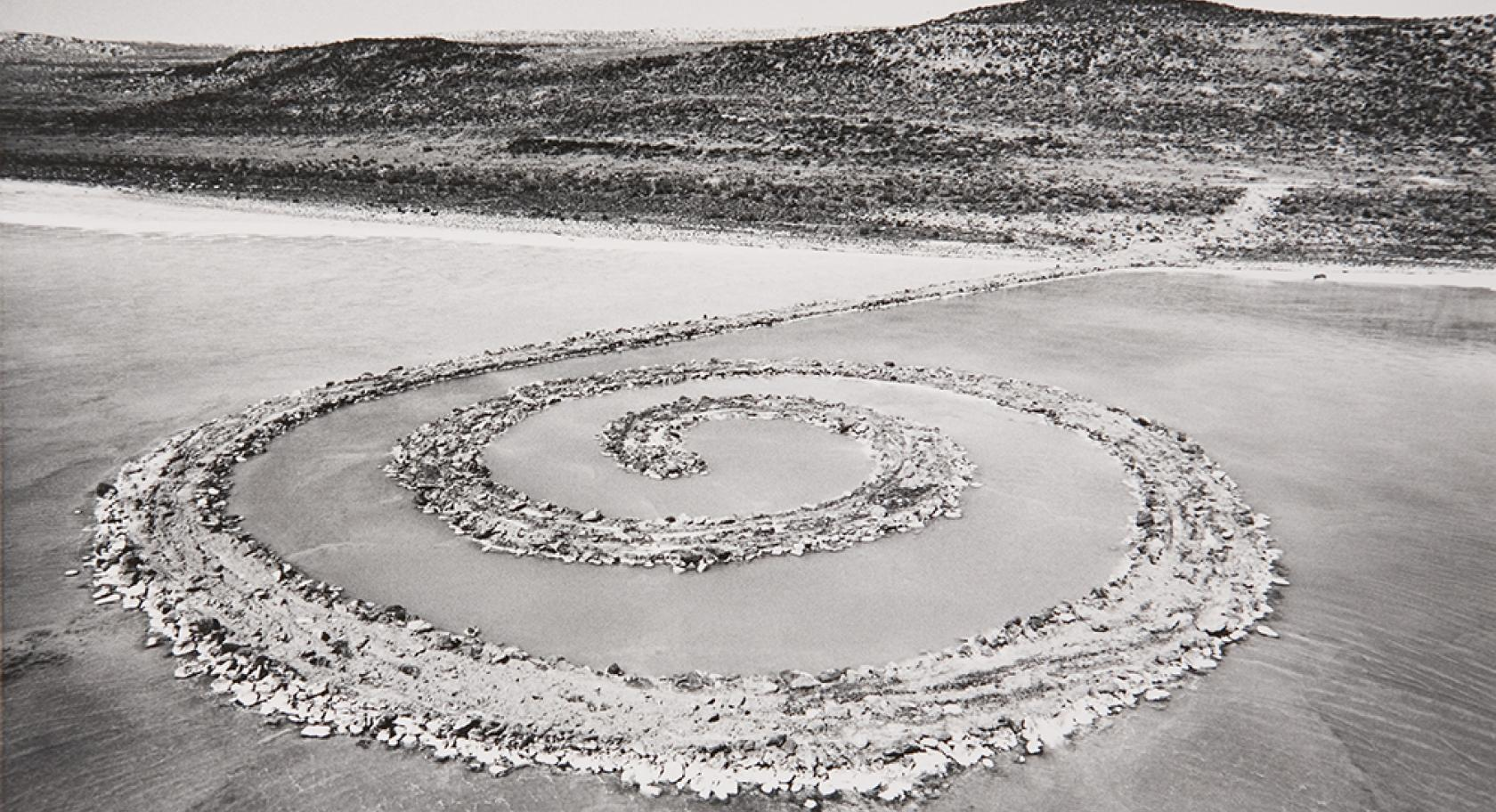 Robert Smithson (American, 1938–1973), Spiral Jetty, 1970, Rozel Point, Great Salt Lake, Utah, black basalt rock, salt crystals, earth, and water, 1,500 ft. long and approximately 15 ft. wide. © Holt/Smithson Foundation and Dia Art Foundation, licensed by VAGA, New York.
