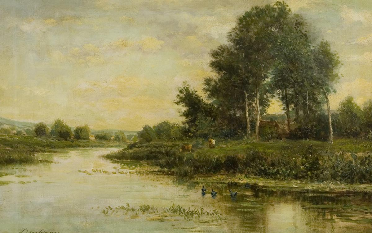 Charles-François Daubigny, (French, 1817-1878), The River, undated, oil on canvas, 16 x 24 in., gift of Edward Bartlett Wicks, UMFA1926.010