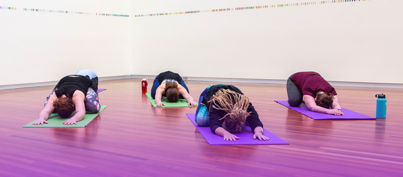 Yoga, child's pose, in the museum, practice for free