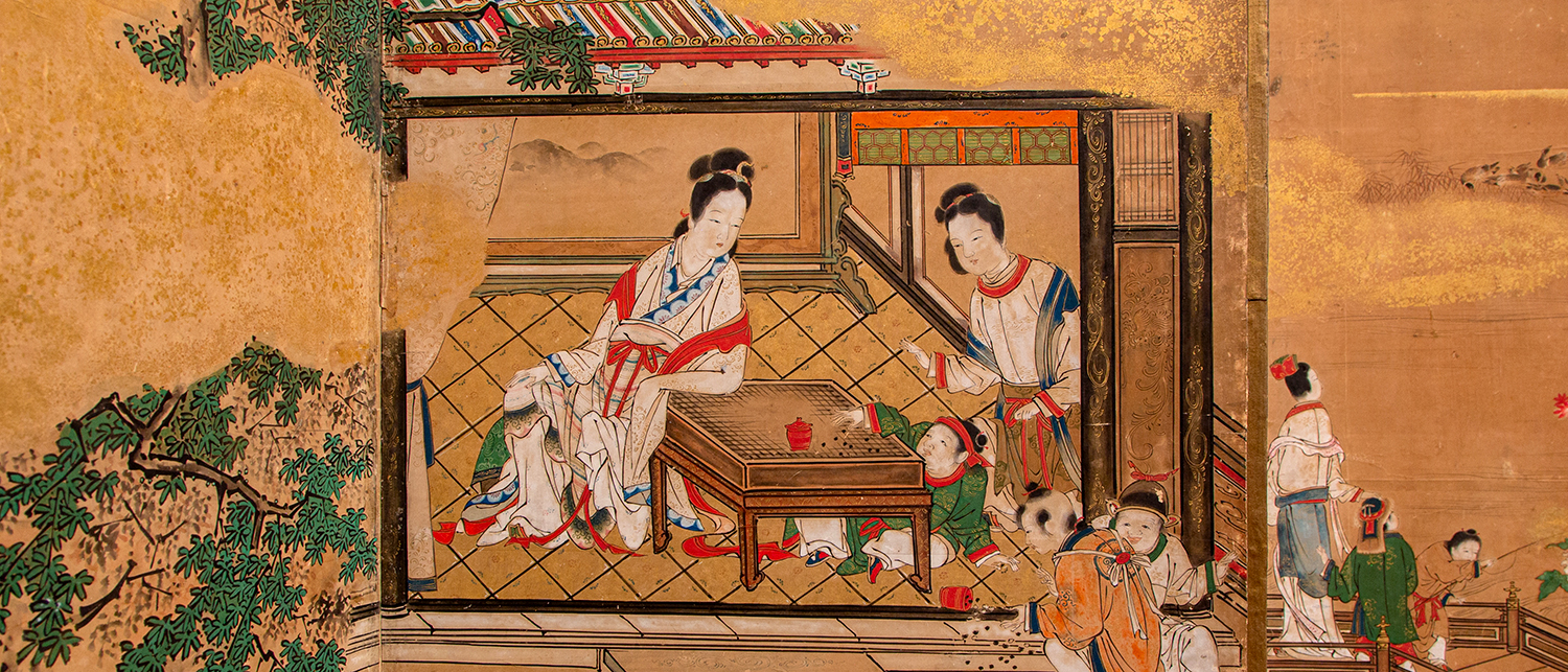 Detail from Japanese Screen, Kano Tsunenobu, Four Arts of China, Middle Edo period