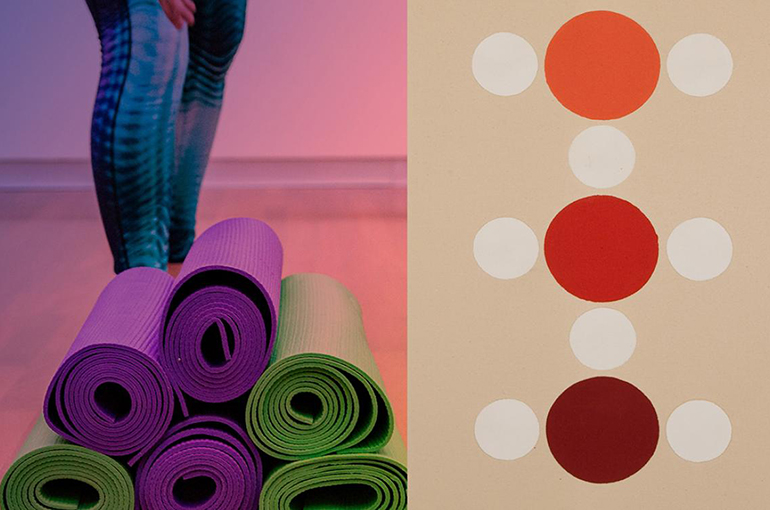 yoga graphic with image of a person in blue leggins reaching for a pile of 6 stack yoga mats next to the image is a painting of three circles stacked vertically, orange, red and maroon each circled by 4 smaller white circles