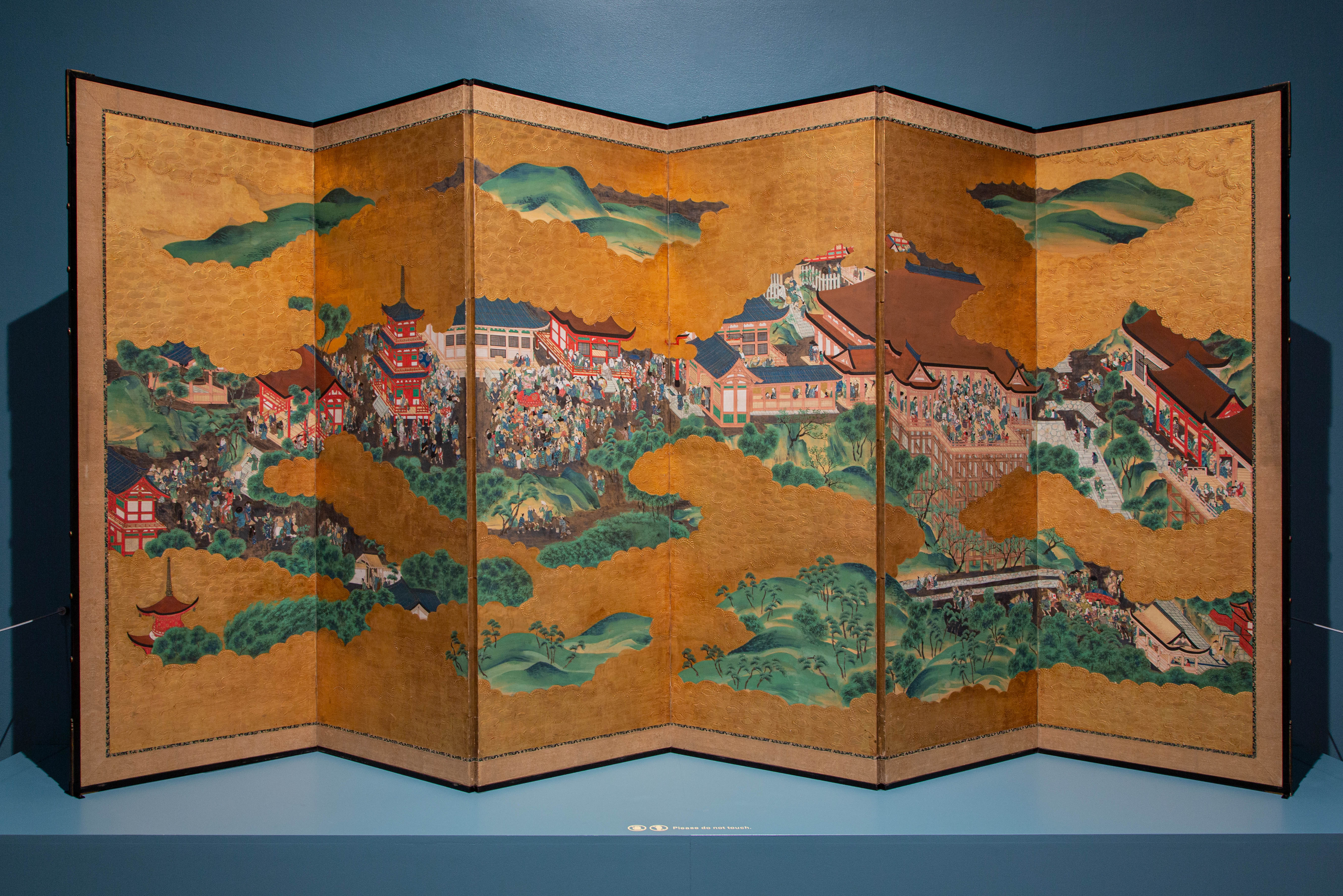 The Kiyomizu Temple, 1825 Japanese ink, gouache, paper, wood, silk, and gold leaf