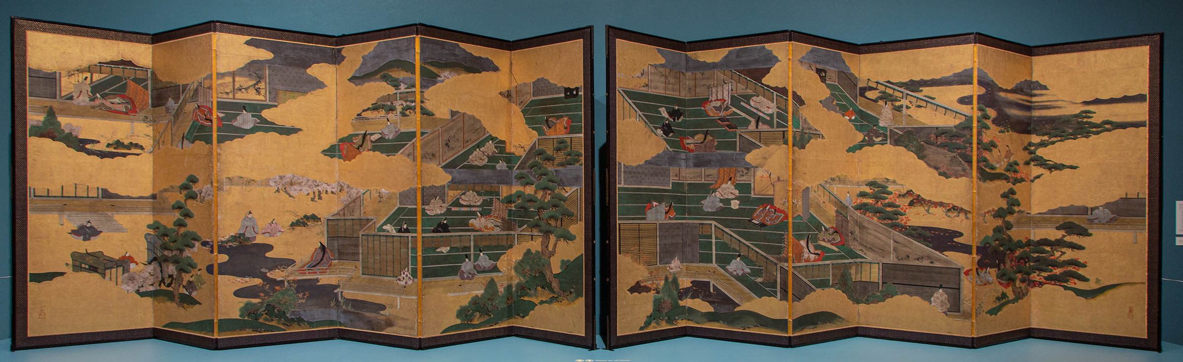 Kaiho Yusho II  Japanese, 1818–69 Scenes from the Tale of Genji, mid-19th century Japanese ink, gouache, paper, wood, silk, and gold leaf