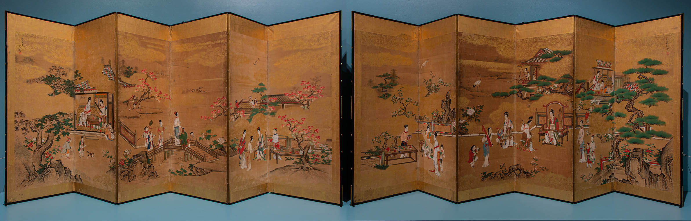 Japanese, 1636–1713, The Four Accomplishments, 1704–13 Japanese ink, gouache, paper, wood, silk, and gold leaf