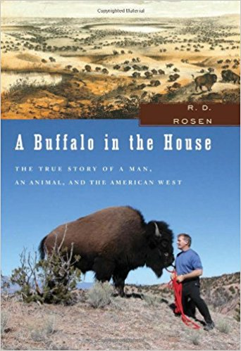 Book cover showing a male, a buffalo, and a landscape