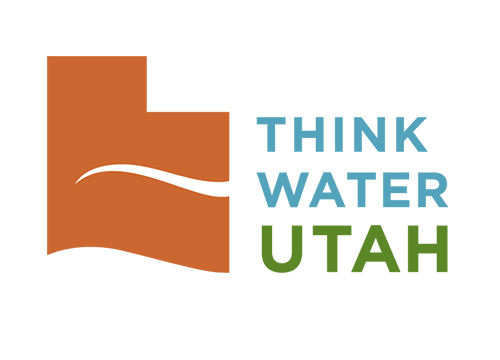 Think Water Utah Logo and orange Utah shape on the left with a water curve on the bottom and white water wisp cutting through the center. The words Think Water in blue and  Utah in green are stacked on top of each other on the right.
