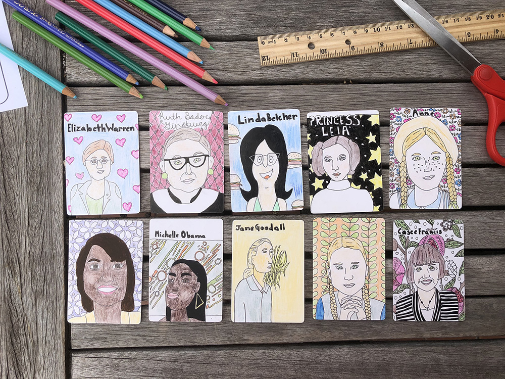 trading cards made by local artist Beatrice Teigen