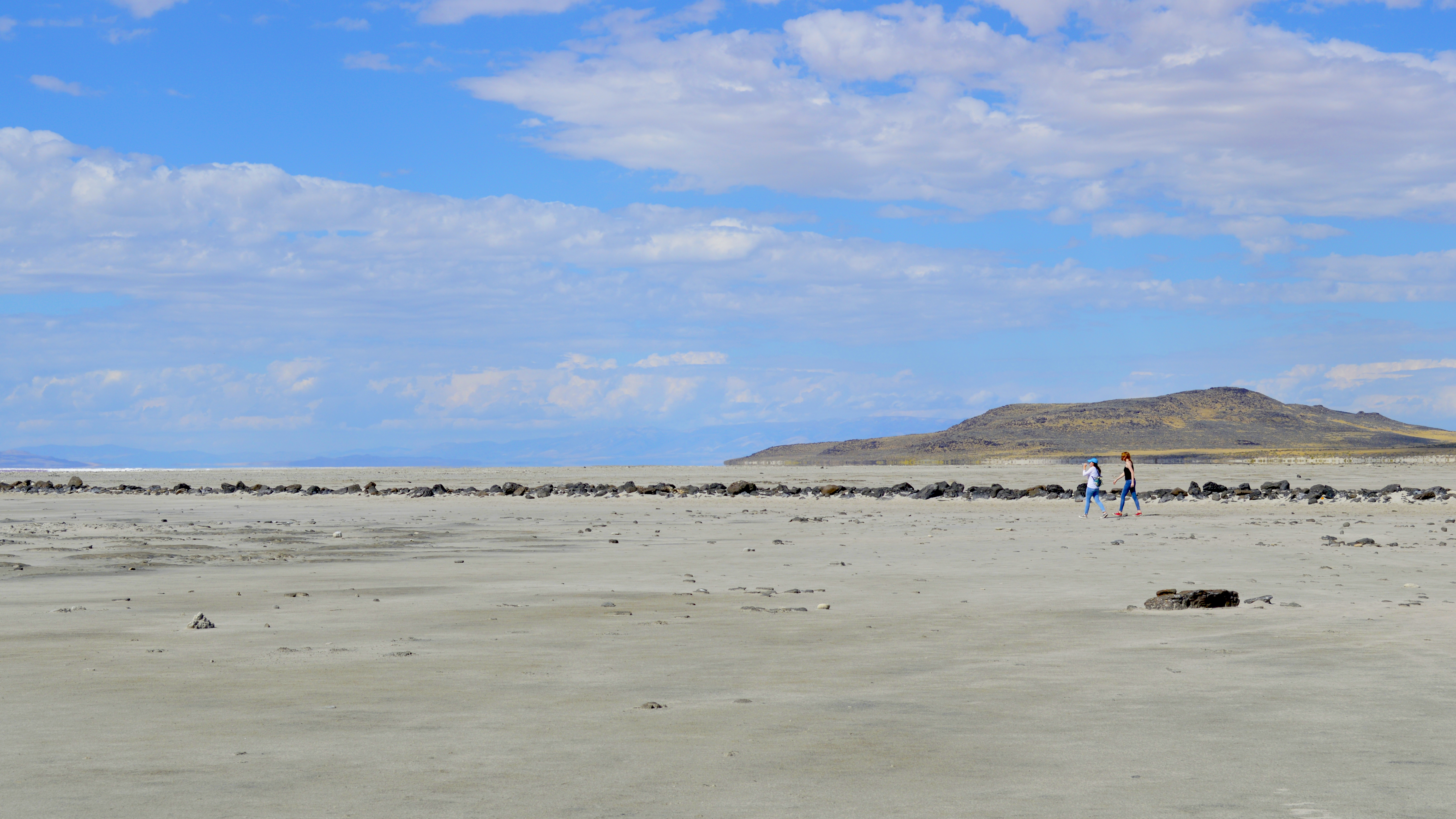 People walking the Spiral Jetty