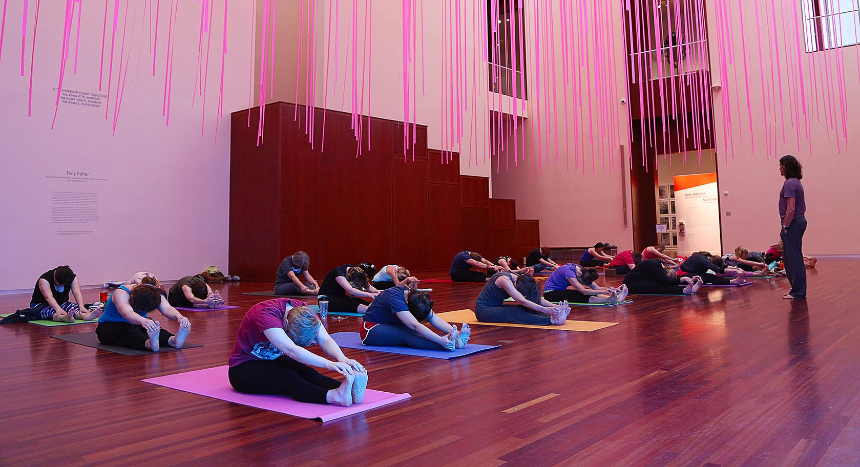 Yoga in the UMFA's Great Hall.