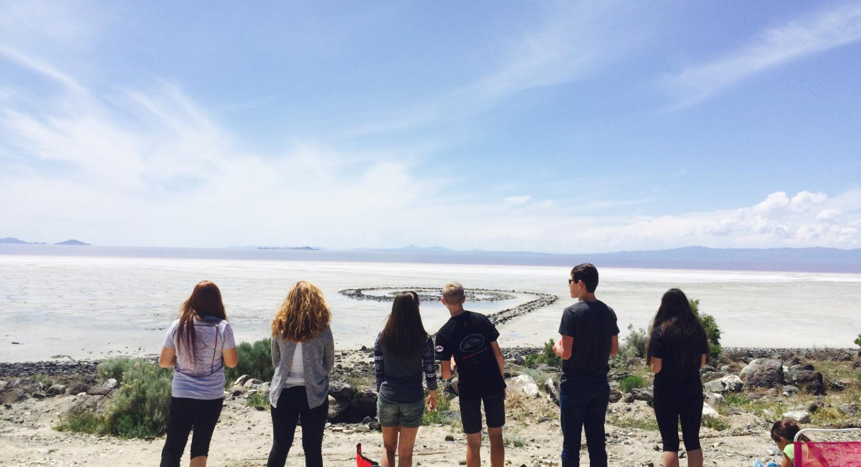 Students at Spiral Jetty