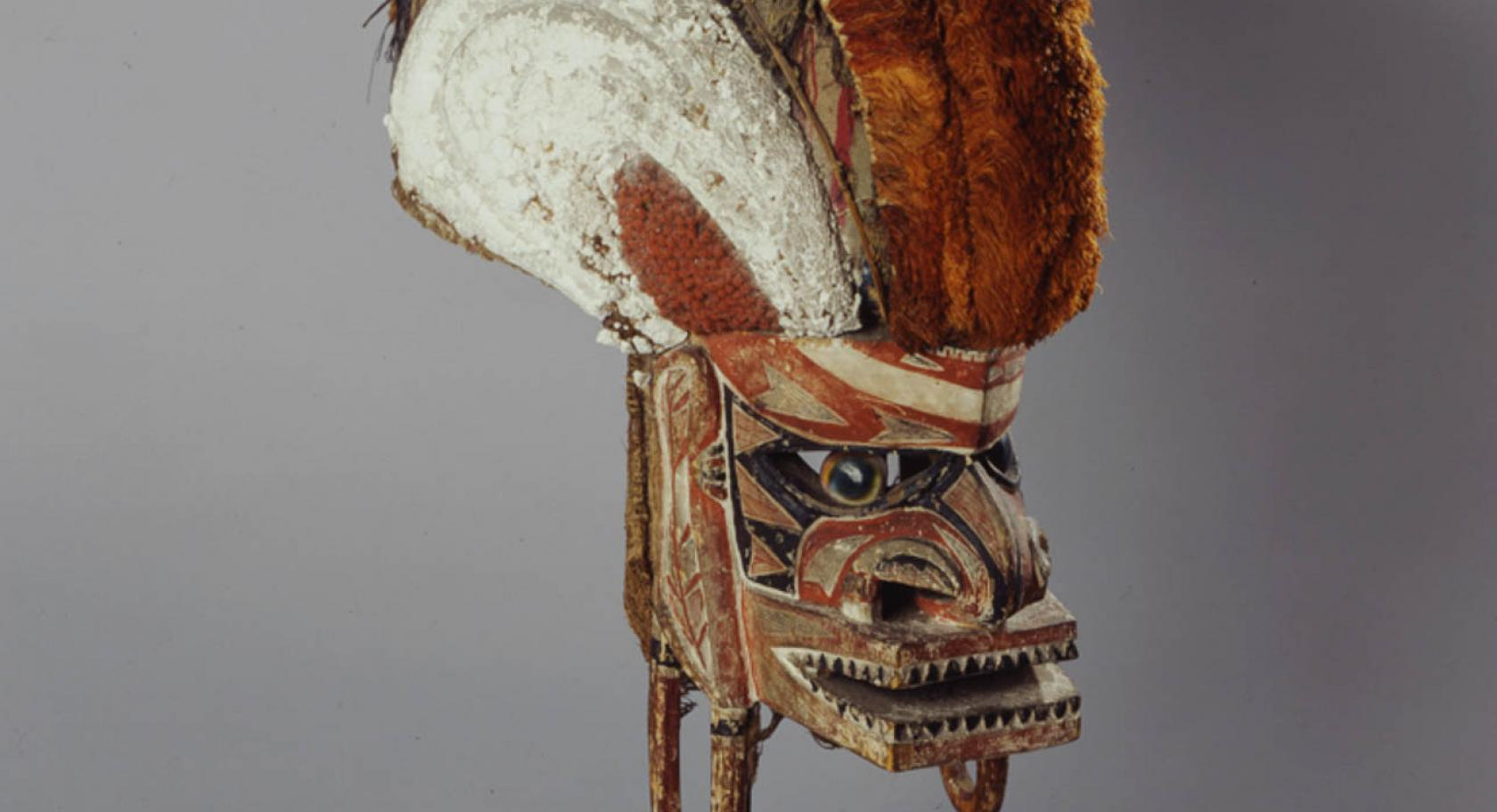 Unidentified artist, New Ireland, Papua New Guinea, Tatanua Mask, twentieth century, wood, fiber, prickly fruit, lime, pigment, Ulfert Wilke Collection, purchased with funds from Friends of the Art Museum, UMFA1983.001.009.