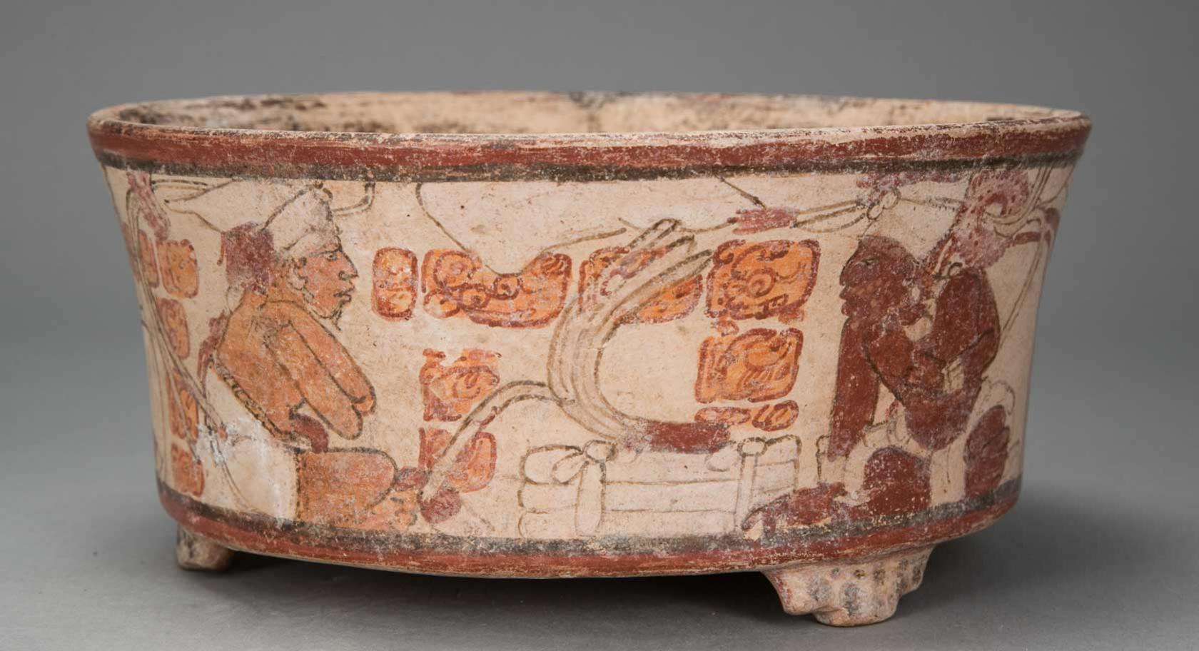 Vessel with Political Scene, Guatemala, Petén region, Maya culture, 600–900, earthenware and pigment, purchased with funds from Friends of the Art Museum, UMFA1984.002.