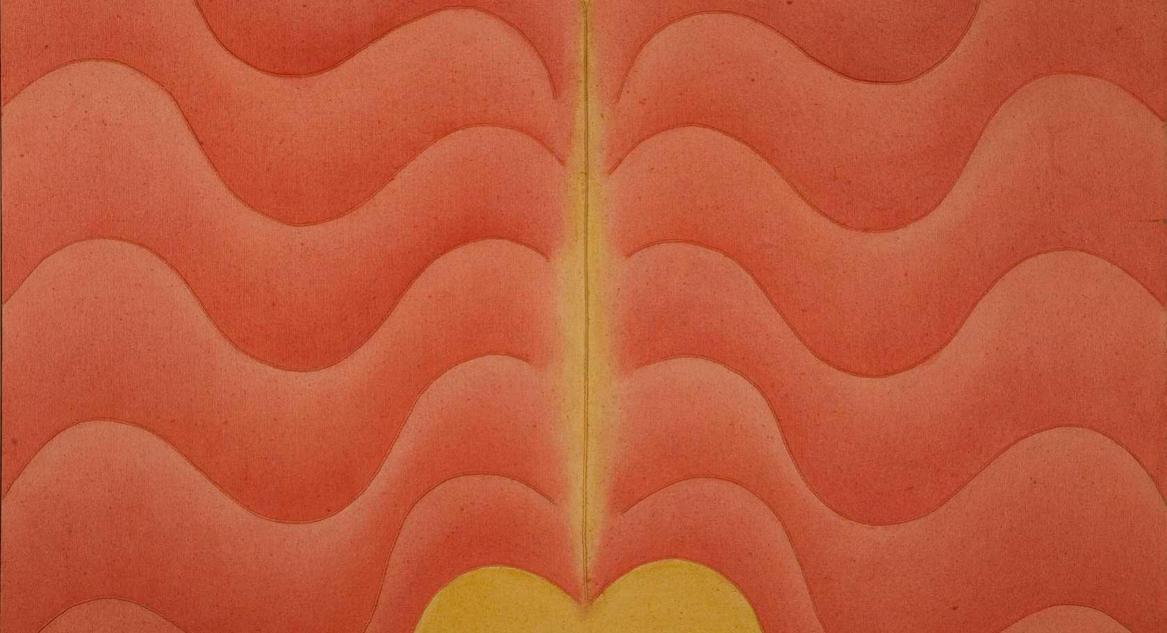 Signe Stuart (American, b. 1937), Untitled [Composition with Rib Shapes], 1970, acrylic on sewn canvas, 40 x 60 inches, Gift of James and Marilyn Warenski, UMFA1999.25.1