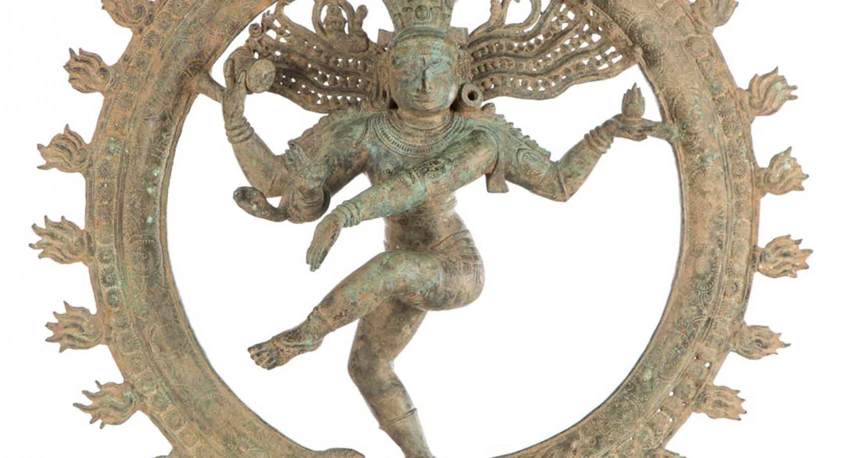 Shiva as Lord of Dance (Nataraja), Southern India, Chola dynasty, ca. 12th-13th century, bronze, gift of the Christensen Fund to commemorate founding Director E. Frank Sanguinetti's 84th birthday, UMFA2001.11.1.