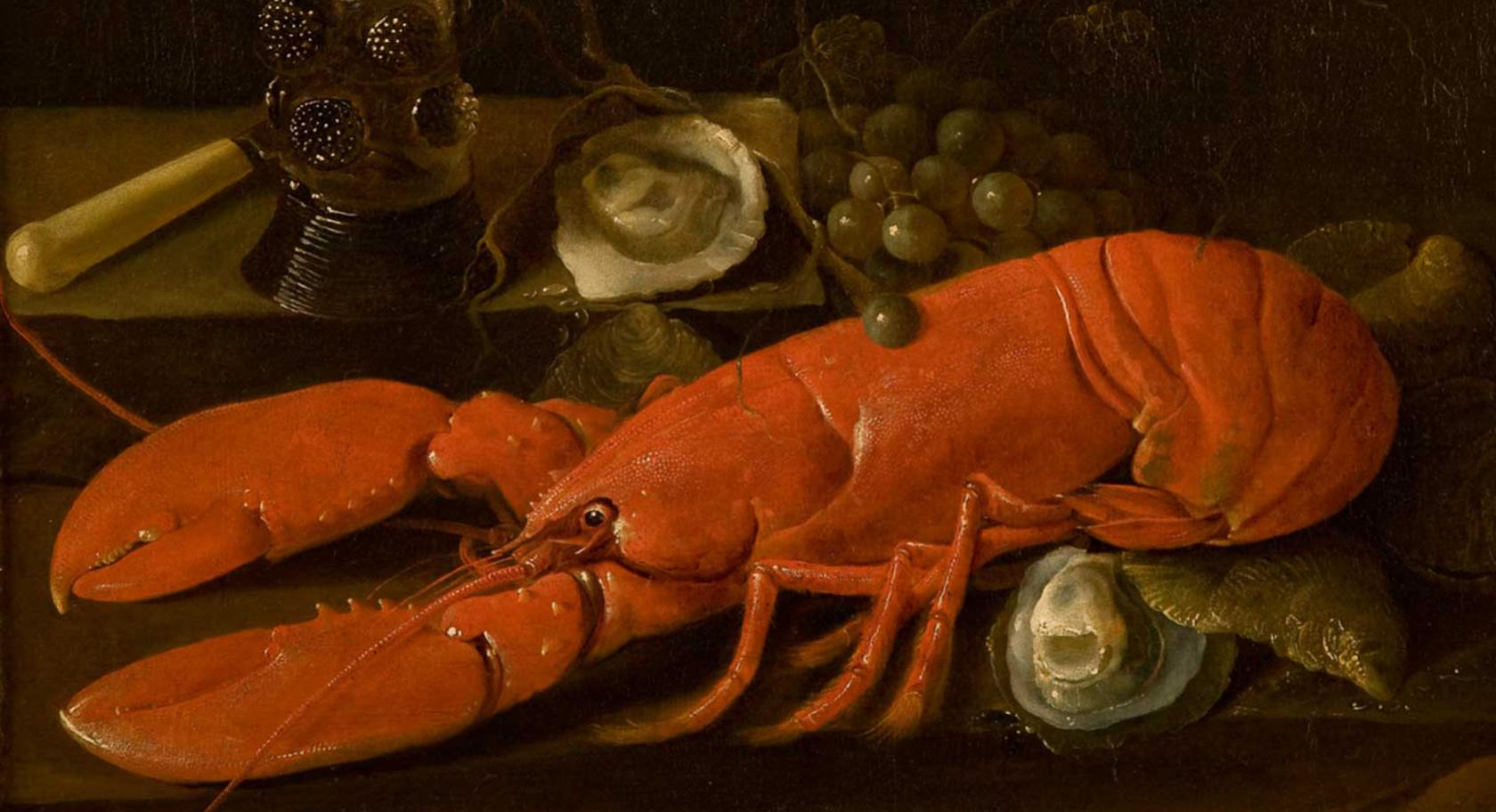 Abraham Susenier (Dutch, ca. 1620-1668), Still Life with a Lobster, Römer, Oysters, Grapes, and a Knife,ca. 1660s, oil on canvas, 21 x 25 1/2 in., purchased with funds from the Emma Eccles Jones Foundation, conserved with funds from the Ann K. Stewart Docent and Volunteer Conservation Fund, UMFA2003.34.1