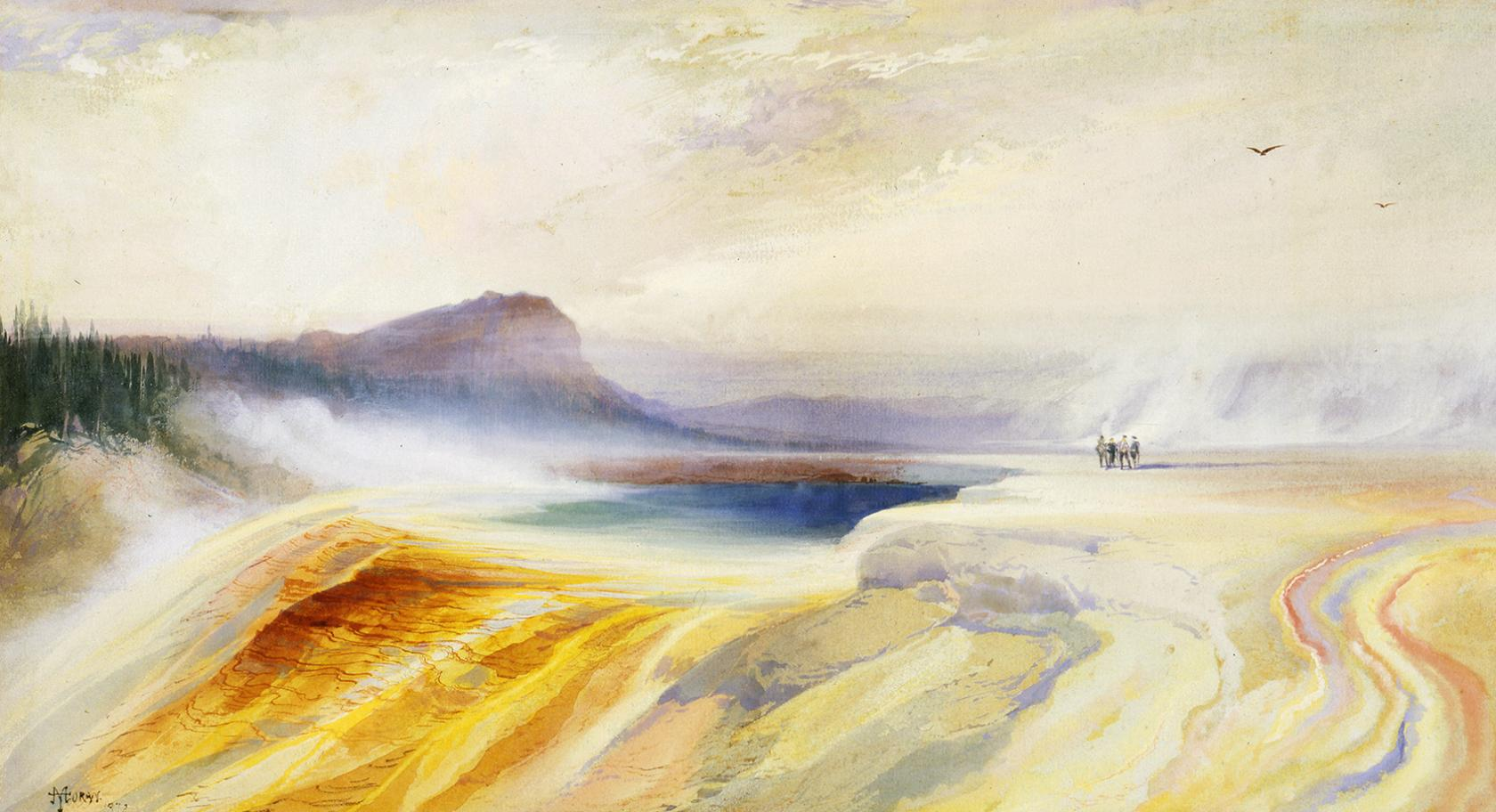 "Thomas Moran, ""Great Blue Spring of the Lower Geyser Basin, Firehole River, Yellowstone,"" 1872, watercolor on paper."