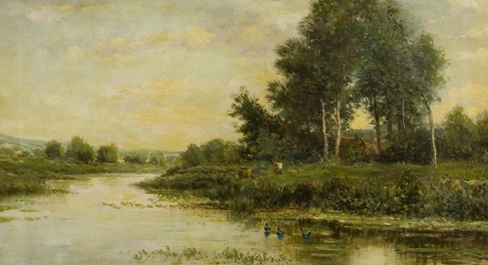 "Charles Francois Daubigny (1817-1878), French, ""The River,"" oil on canvas, gift of Edward Bartlett Wicks, UMFA1926.010."