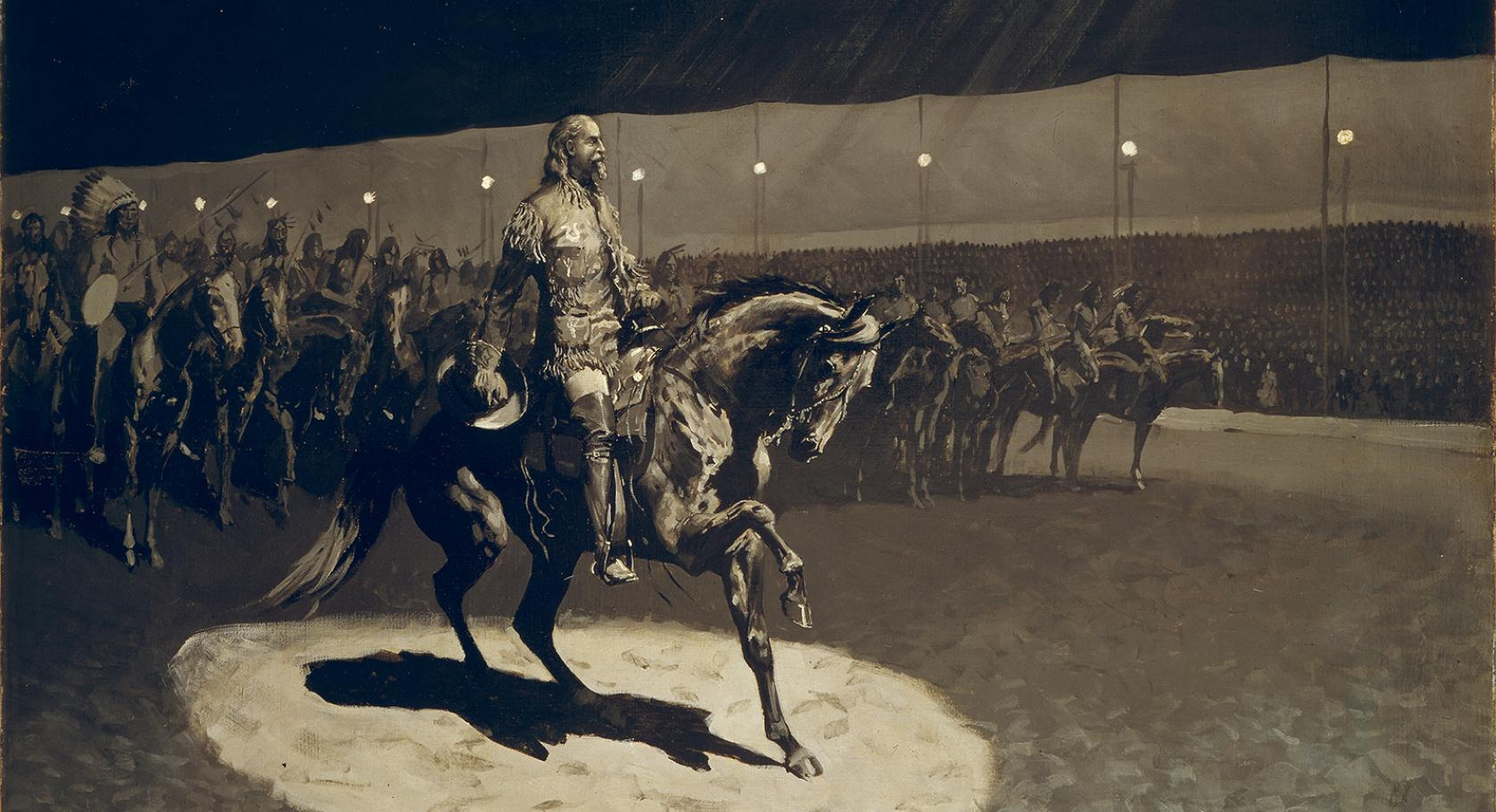 Frederic Remington (American, 1861-1909), Buffalo Bill in the Limelight, ca. 1899 oil on canvas, 35.5 x 48.5 in. (frame), Buffalo Bill Center of the West, Cody, Wyoming, USA, Gift of The Coe Foundation, H. P. Skoglund, Ernest Goppert, Sr., and John S. Bugas 23.71