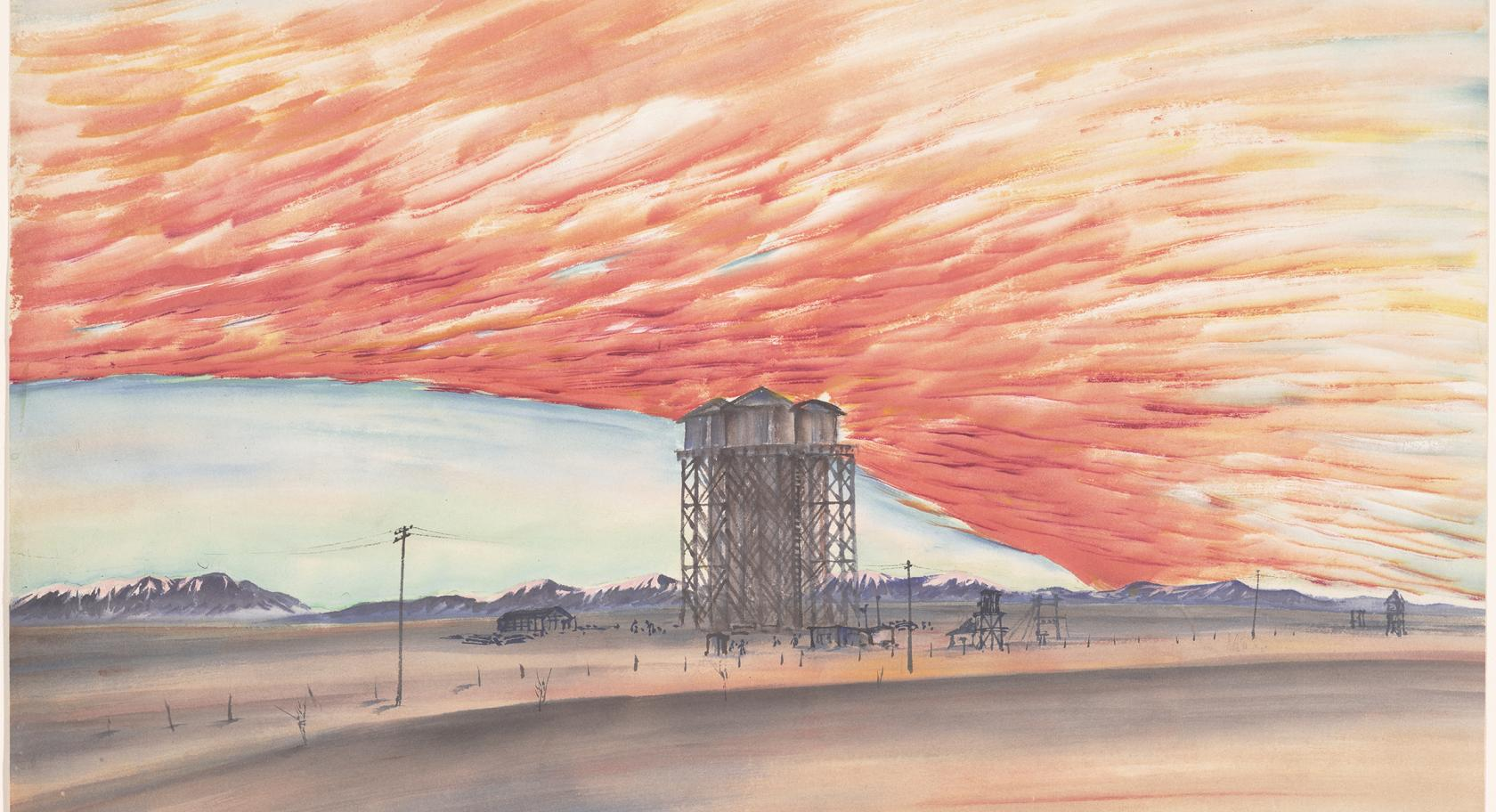 Chiura Obata (American, b. Japan, 1885-1975), Sunset, Water Tower, March 10, 1943, ink, color, and mica on paper, 15 1/4 x 20 1/2., Fine Arts Museum of San Francisco, Museum purchase, gift of the Graphic Arts Council, 2001.28.1