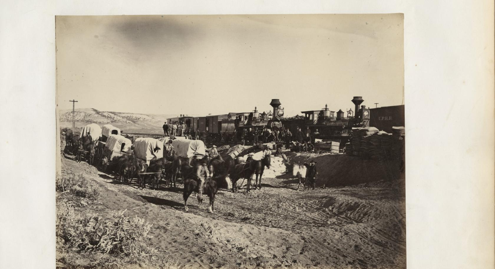 "Andrew J. Russell (American, 1829–1902), Supply Trains, 1868, Plate 27, ""The Great West Illustrated,"" albumen silver print, courtesy Union Pacific Railroad Museum"