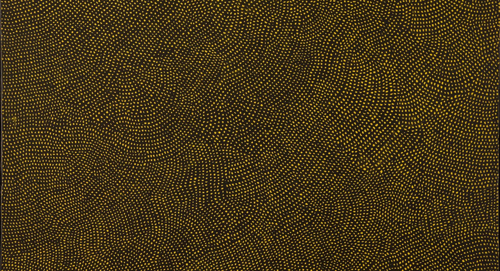 Yayoi Kusama (Japanese, b. 1929) Infinity Nets, 1959, acrylic on canvas, 28 5/8 x 35 ¾ inches, purchased with funds from The Phyllis Cannon Wattis Endowment Fund, UMFA2011.2.2