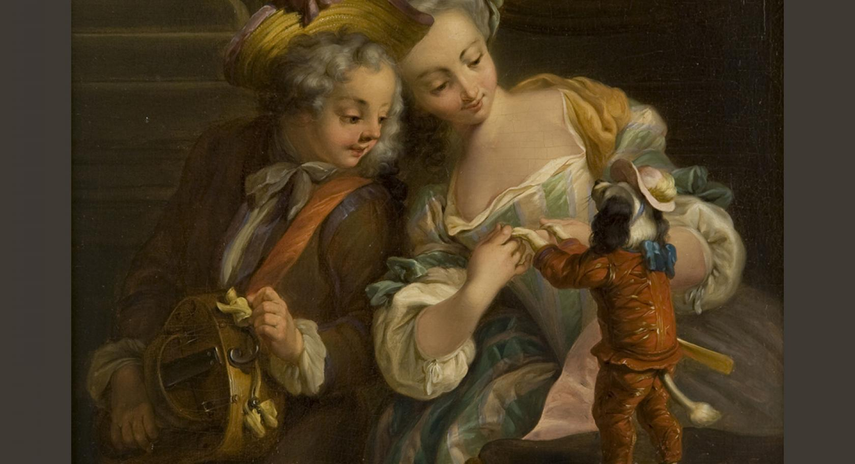 Charles Dominique Eisen, (French, 1720-1778), Le chien dansant (The Dancing Dog), ca. 1740-1778, oil on panel, 9x7 5/8 in., gift of Val A. Browning, The Val A. Browning Memorial Collection of 500 Years of European Masterworks, UMFA1993.034.009