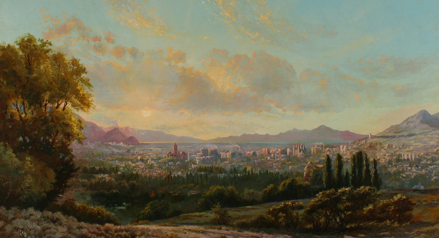 Henry L.A. Culmer, (American, 1854-1914), View of Salt Lake Valley, ca. 1911-1914, oil on canvas, gift of Joseph J. Palmer, Wayne G. Petty, the heirs O. Wood Moyle III and James H. Harwood by exchange, UMFA2011.18.1