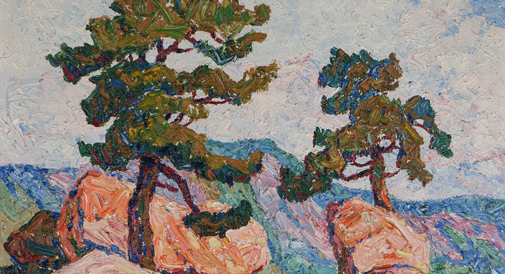 Sven Birger Sandzén, (American, born Sweden, 1871-1954), Two Pines. Manitou, Colorado, 1921, oil on canvas, 17 1/8 x 23 7/8 in., gift of Mr. and Mrs. J.D. Stewart, UMFA2017.4.1.
