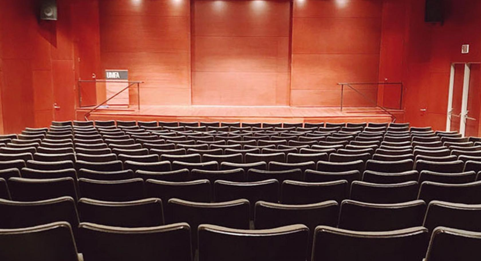 Auditorium with modern wooden stage at UMFA
