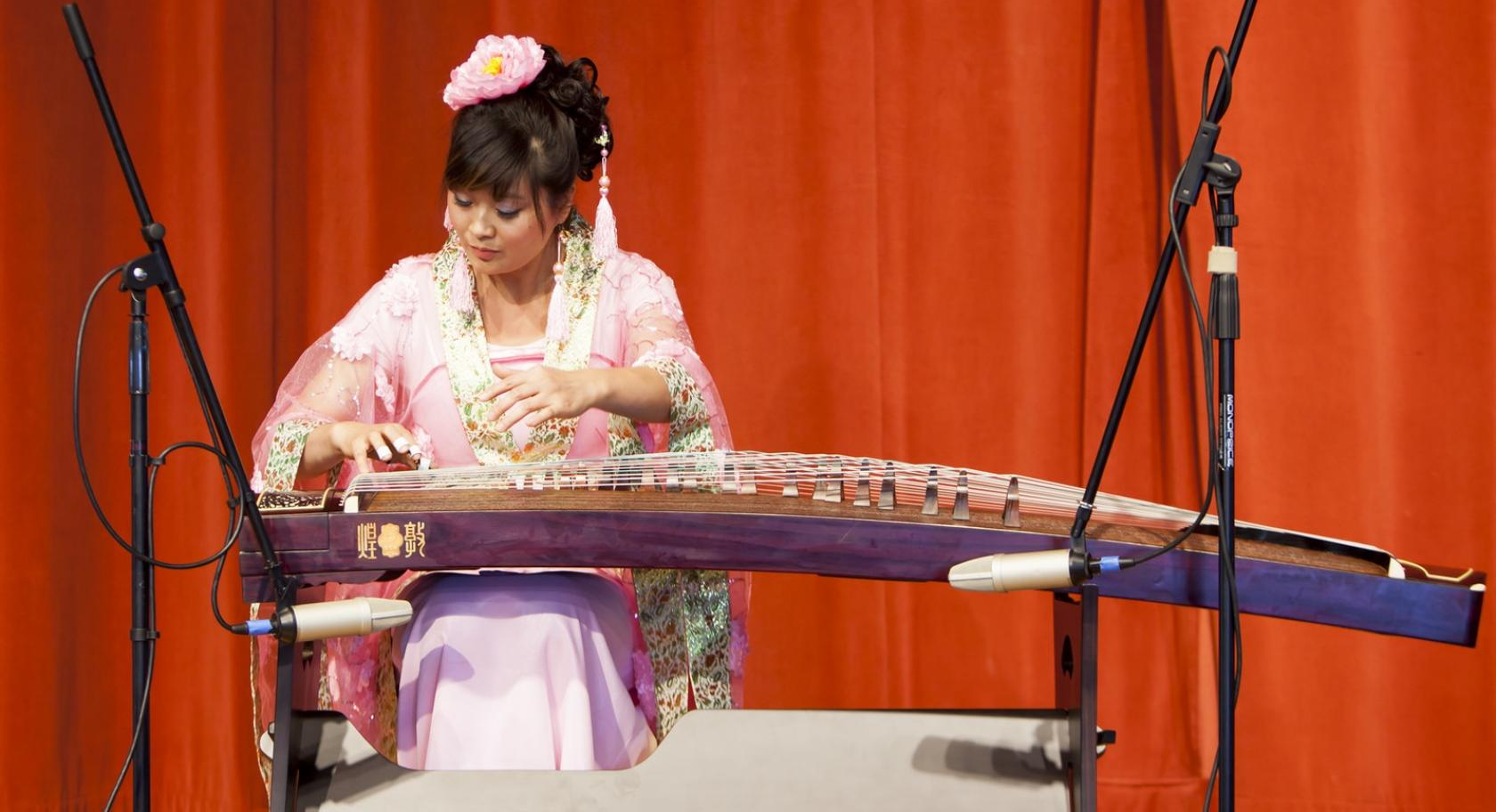 Chinese Zither player Yun Layton from the Utah Chinese Folk Orchestra