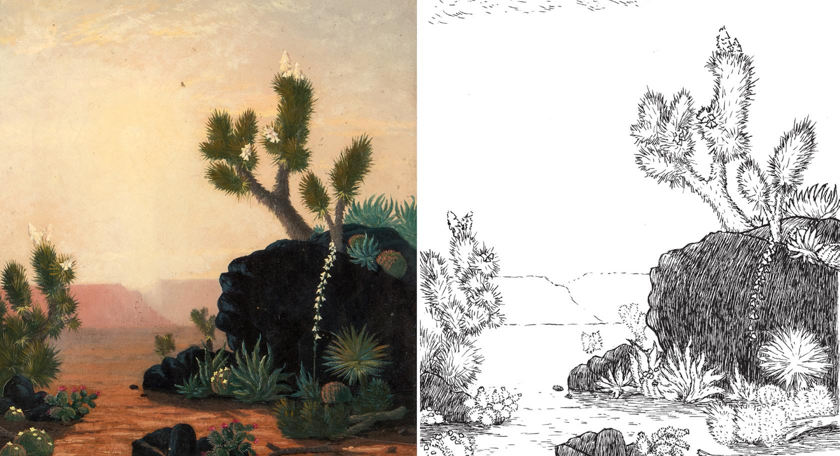Side by side of original painting A Nook of the Desert with coloring page, Alfred Lanbourne, American, A Nook of the Desert, 1875, oil on canvas, UMFA2016.9.1