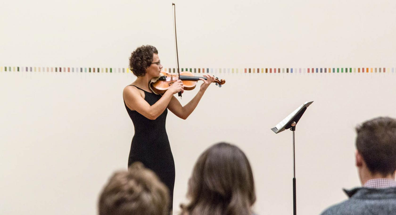 Violinist Kasia Sokol-Borup plays for UMFA's Sight and Sound in October 2018