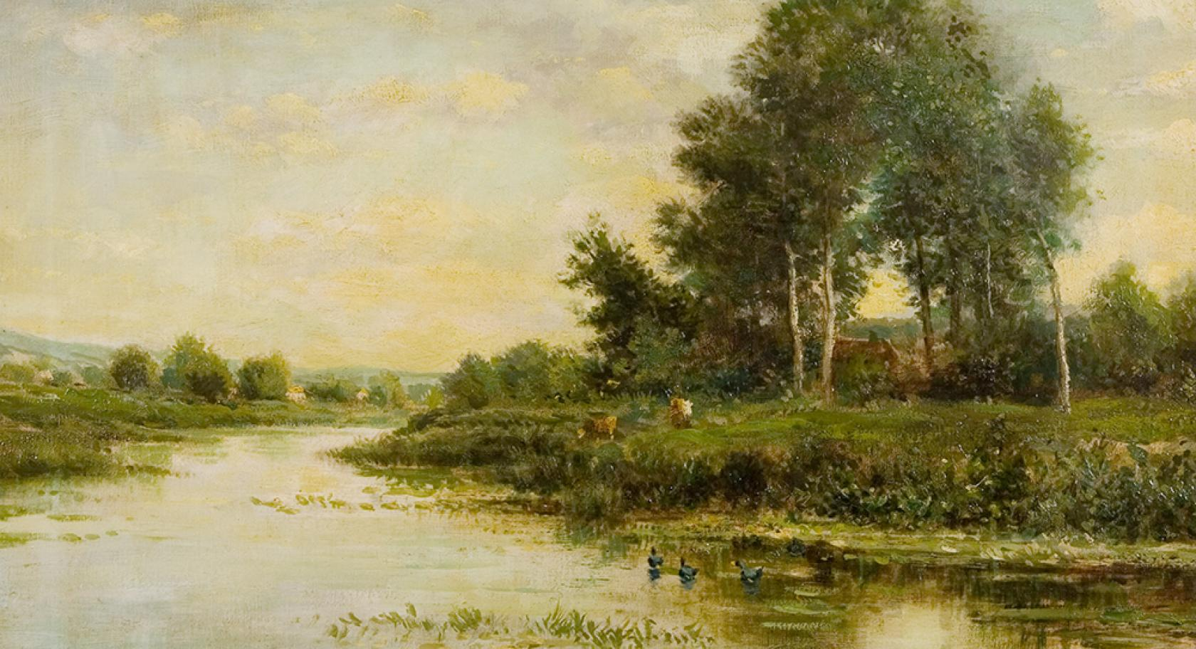Charles-Francois Daubigny, The River,  ca. 1837-1878, oil on canvas, gift of Edward Bartlett Wicks, from the Permanent Collection at the Utah Museum of Fine Arts, umfa1926.010.