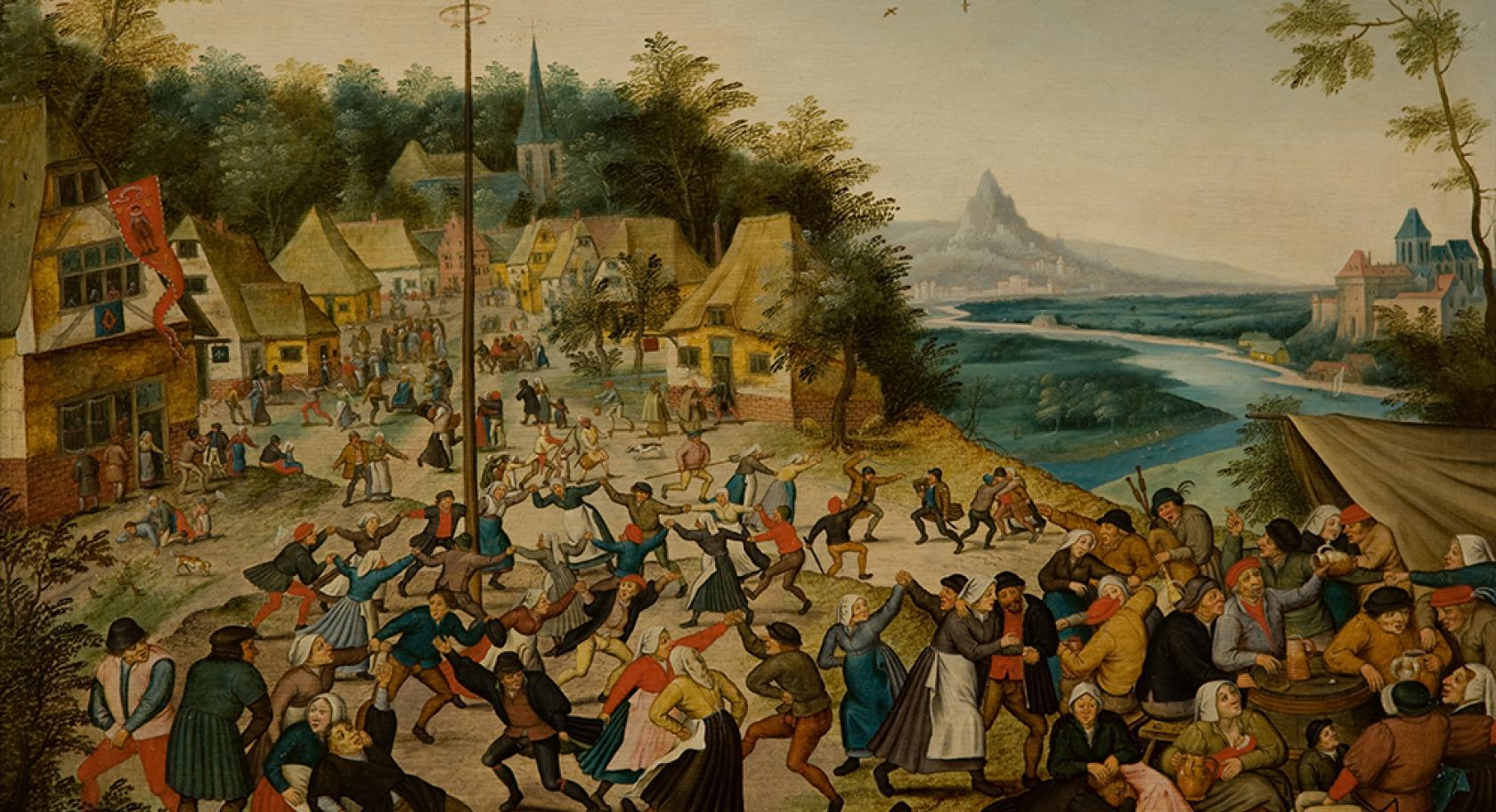 Dance Around the Maypole, Pieter Brueghel the Younger, Flemish, 1625-1630, oil on panel, UMFA1992.020.001