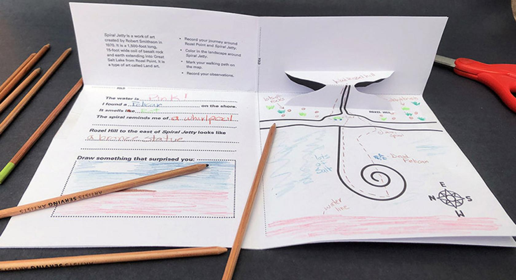 Completed Spiral Jetty field guide with pop up mountain