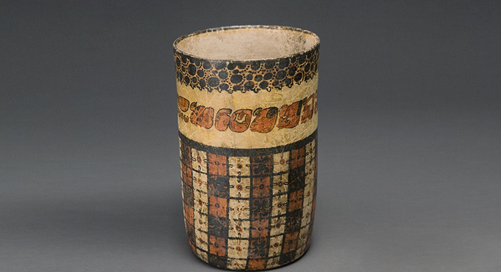 Vase with checkerboard pattern and Jaguar Pelt, Guatemala, Petén region, Maya culture, 600–900, earthenware and pigment, purchased with funds from Friends of the Art Museum, UMFA 1984.003