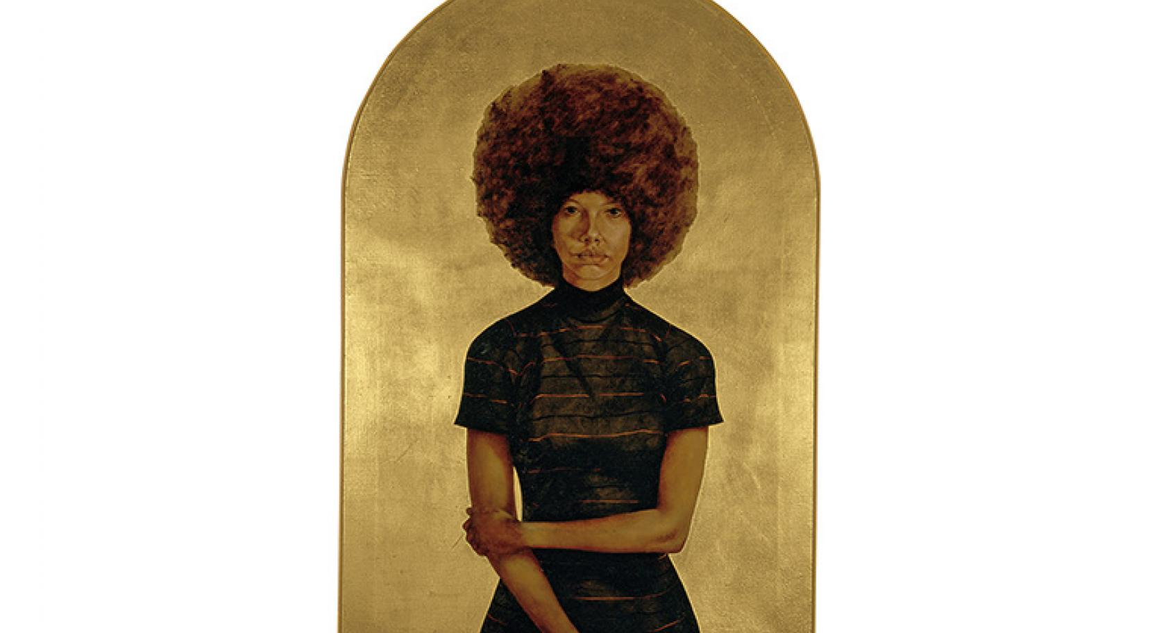 HENDRICKS, L. BARKLEY, LAWDY MAMA, 1969, OIL AND GOLD LEAF ON CANVAS. PUBLISHED BY THE STUDIO MUSEUM IN HARLEM, GIFT OF STUART LIEBMAN, IN MEMORY OF JOSEPH B. LIEBMAN, 1983.25. © ESTATE OF BARKLEY L. HENDRICKS.