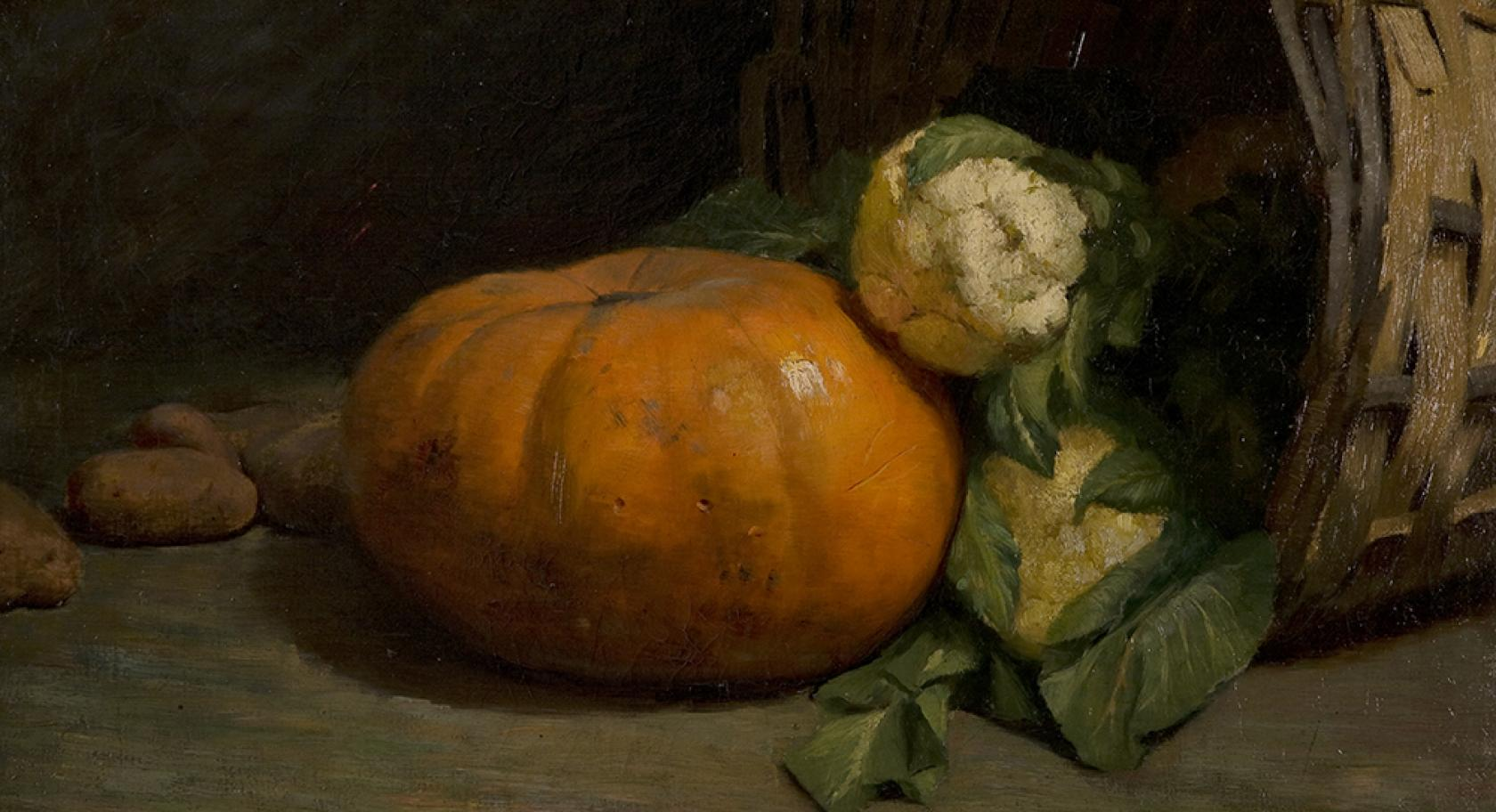 Harriett Richards Harwood, American, The Pumpkin and the Cauliflower (Still Life), oil on canvas, 1892