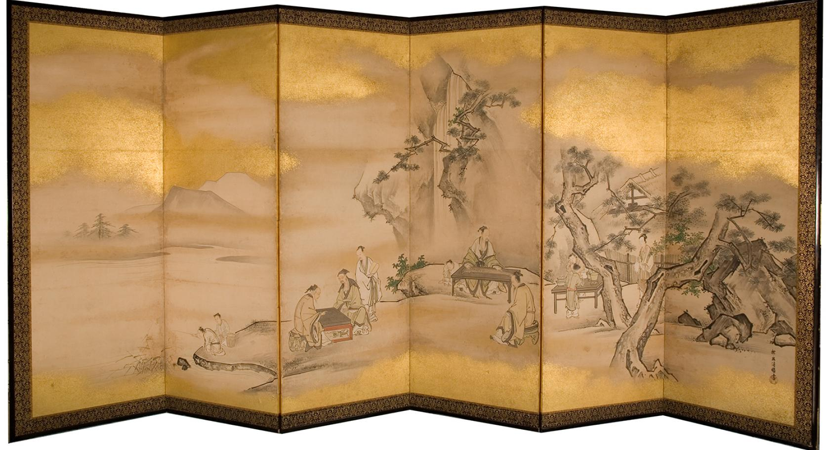 Kano Tanyu, Six-Panel Screen Depicting a Musician and Go Players, UMFA1999.38.6