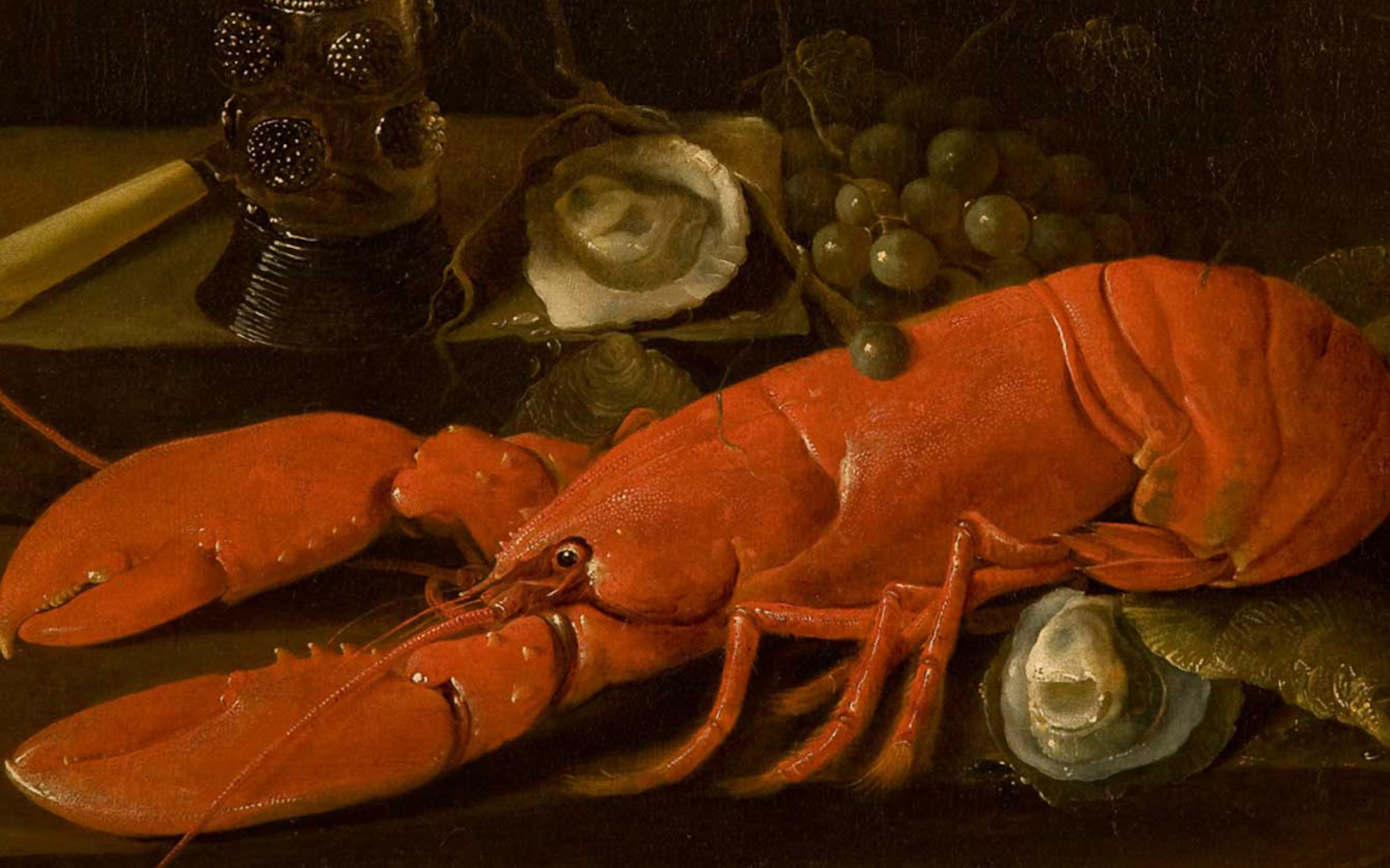 Abraham Susenier (Dutch, ca. 1620-1668), Still Life with a Lobster, Römer, Oysters, Grapes, and a Knife,ca. 1660s, oil on canvas, 21 x 25 1/2 in., purchased with funds from the Emma Eccles Jones Foundation, conserved with funds from the Ann K. Stewart Conservation Fund, UMFA2003.34.1.