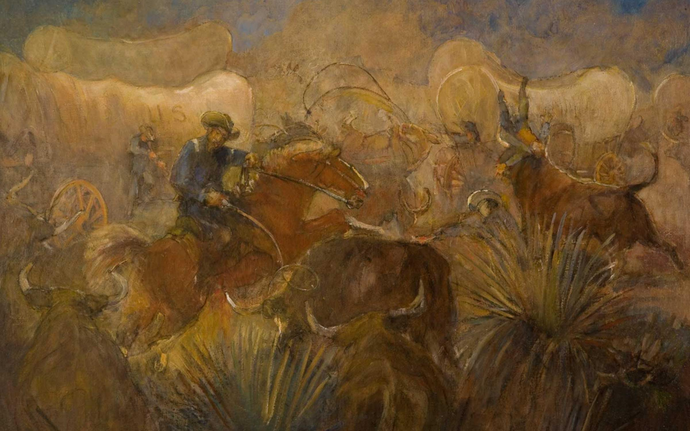 Minerva Teichert (American, 1888-1976), Battle of the Bulls, ca. 1946, oil on canvas, purchased with funds from Jack and Mary Lois Wheatley and a gift from Bernard Simbari, M.D., UMFA2004.2.1