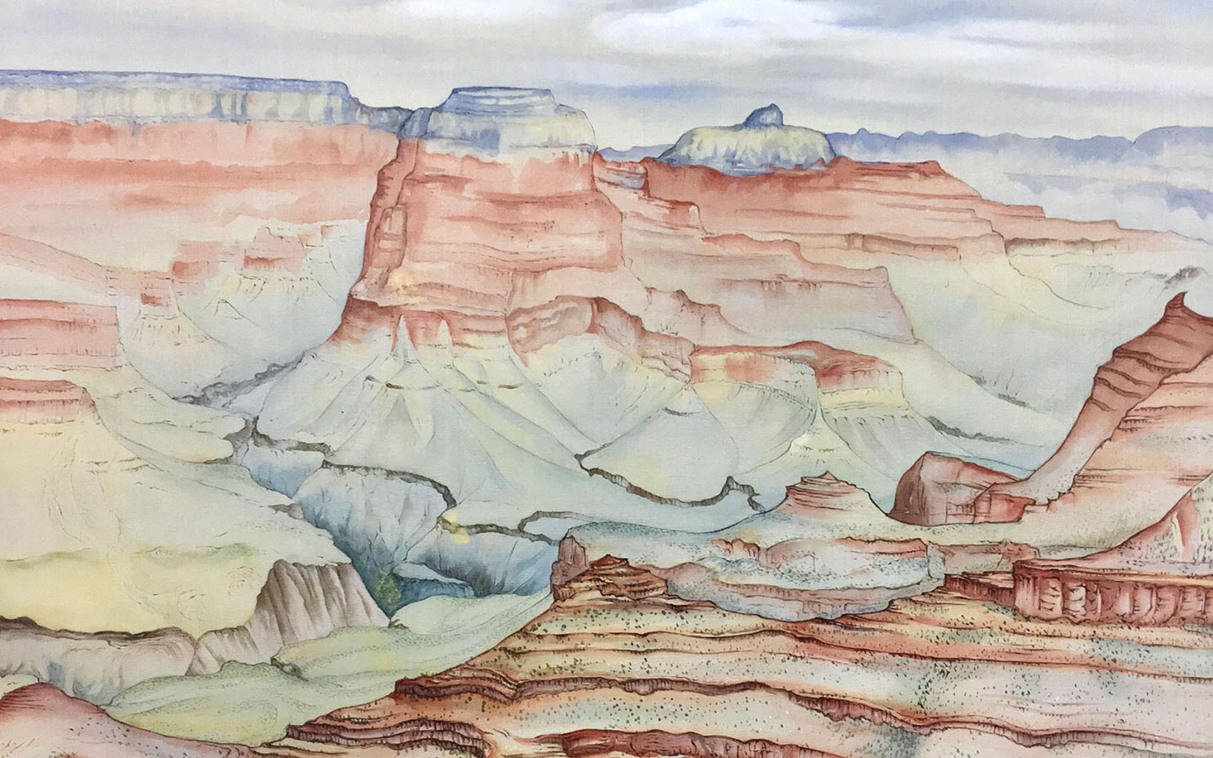 Chiura Obata (American, b. Japan, 1885–1975), Grand Canyon, May 15, 1940, watercolor on silk, 17 1/2 x 21 3/4 in., Amber and Richard Sakai Collection