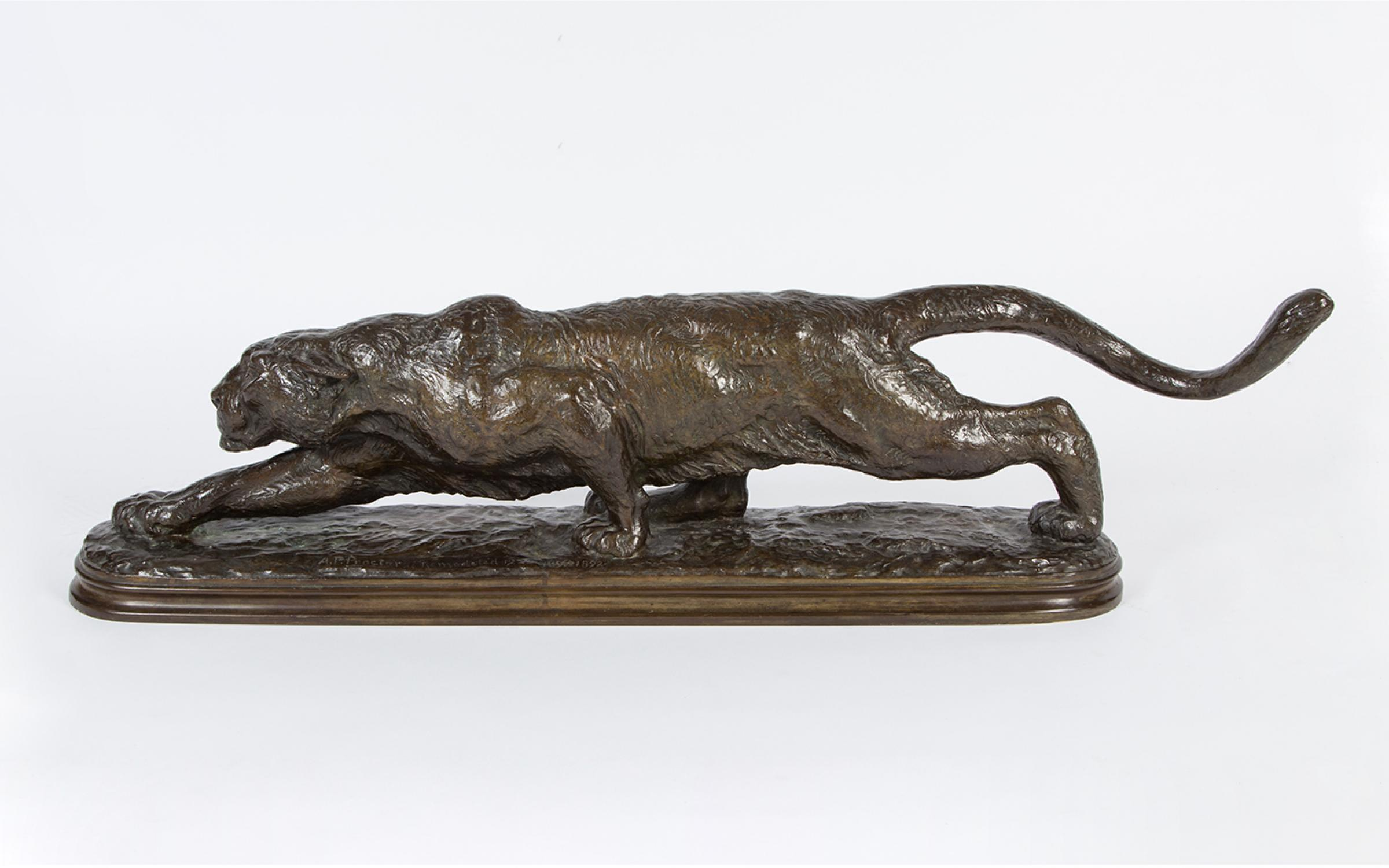 Alexander Phimister Proctor (American),  Large Stalking Panther, 1891-1893, bronze, Collection of the Utah Museum of Fine Arts, gift of The Proctor Foundation and The A. Phimister Proctor Museum, UMFA2018.1.1