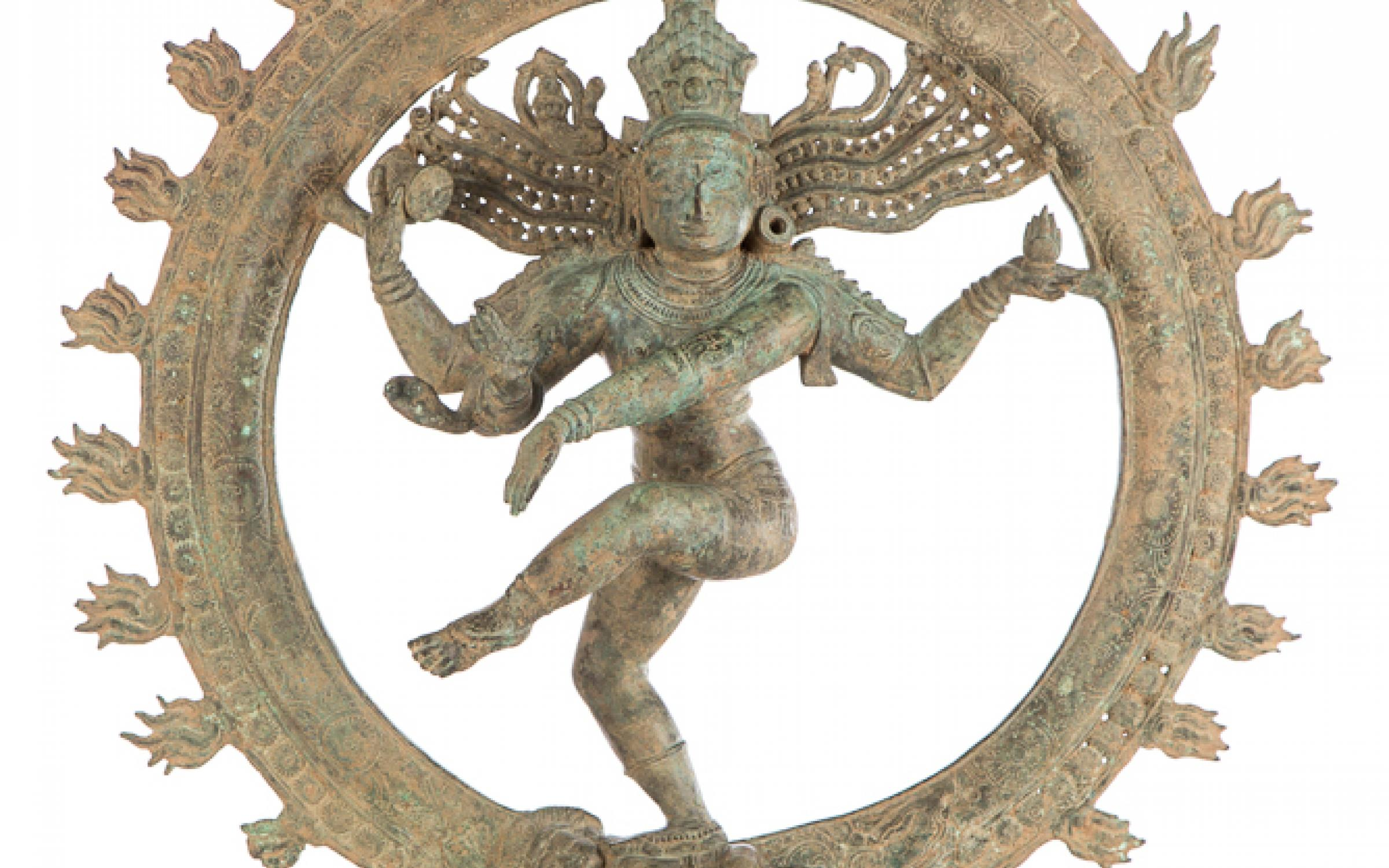 Southern Indian, Chola Dynasty, Siva as Lord of Dance, ca. 12th-13th century, bronze, 27 1/8 x 24 1/2 x 8 1/2 in., gift of the Christensen Fund to commemorate founding Director E. Frank Sanguinetti's 84th birtday, UMFA2001.11.1.
