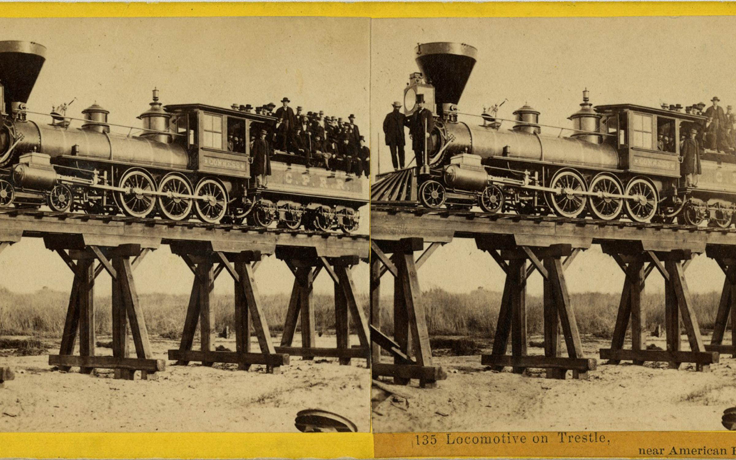 Alfred A. Hart (American, 1816–1908), Locomotive on Trestle, near American River, 1865, albumen stereograph, courtesy Union Pacific Railroad Museum.
