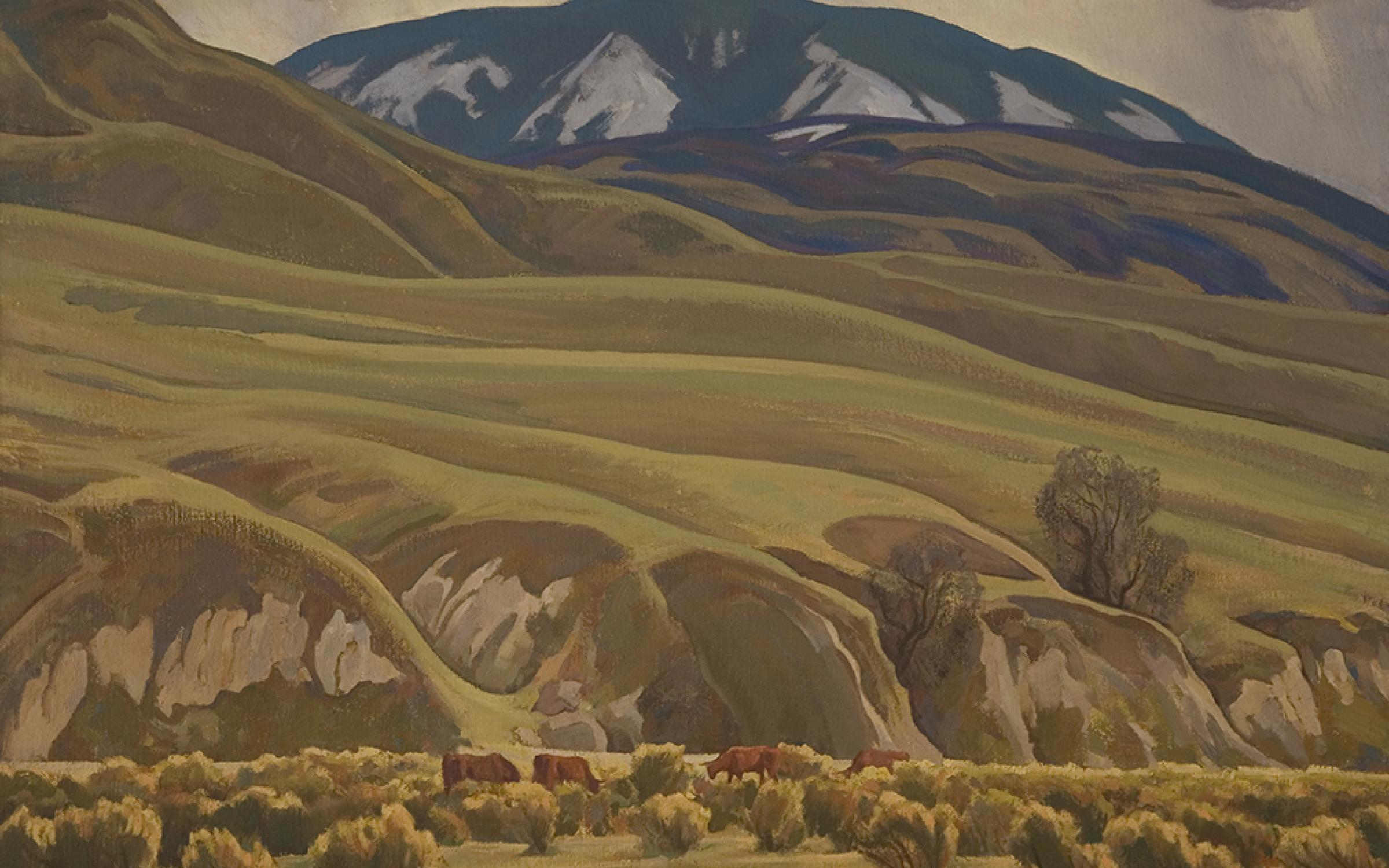 Maynard Dixon (American, 1875-1946) Springtime on Bear Mountain, 1930, oil on canvas, gift of Mr. and Mrs. Alan B. Blood, framed with funds from the Ann K. Stewart Docent and Volunteer Conservation Fund, UMFA1996.54.1