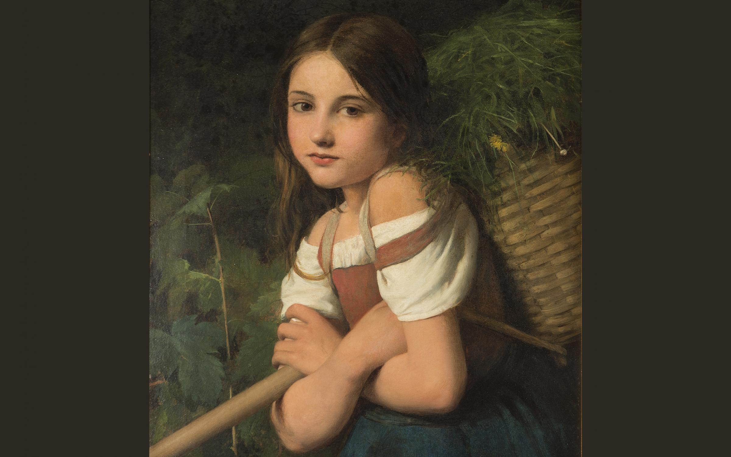 William Charles Thomas Dobson, (British, 1817-1898), The Fern Gatherer, 1865, oil on canvas, 23 1/2 x 19 7/8 in., gift of John Pilcher, UMFA2017.6.6