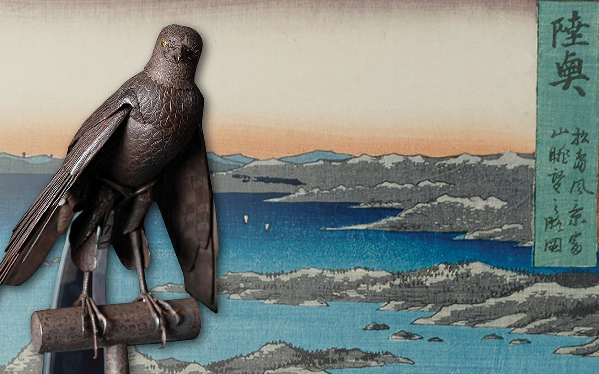 Japanese print of a sea shore and with gray hills with a metal raptor sculpture cut out on top