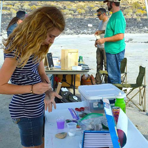 Young student panting at the Spiral Jetty Meet up.