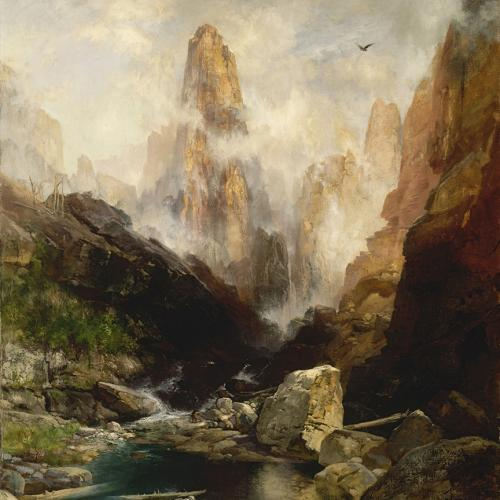 THOMAS MORAN (AMERICAN, BORN ENGLAND, 1837-1926) MIST IN KANAB CANYON, UTAH, 1892, OIL ON CANVAS, (44 3/8 X 38 3/8 IN.) SMITHSONIAN AMERICAN ART MUSEUM, BEQUEST OF MRS. BESSIE B. CROFFUT, 1942.11.10